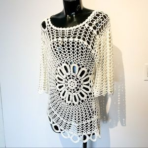 White VINTAGE Crocheted Cover Up Top